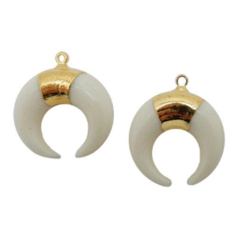 Tibetan White Carved Bone LARGE Horn Pendant with Brass Cap and Mosaic Accents- Boho Fashion 2014 (S55B17)