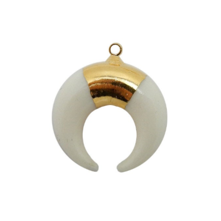 White Bone Crescent Double Petite Horn Pendant with 24k Gold Electroplated Band (S93B12-13)