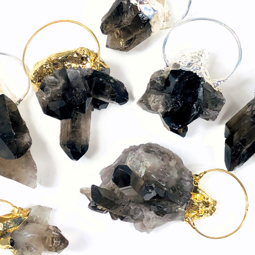 Smokey Quartz Raw Chunk with Electroplated 24k Gold/Silver Edges and Large Fancy Hoop (S40B7)