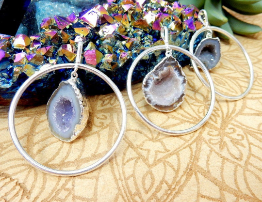 Half Geode Druzy Dangle Hoop Pendant with Electroplated 24k Gold or Silver Edge (S96B23-01) (S96B24-07)