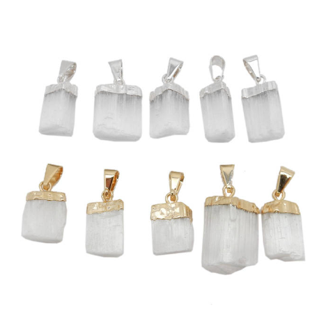 Selenite Freeform Petite Pendant wiith 24k Gold or Silver Electroplated Cap and Bail (S57B16)