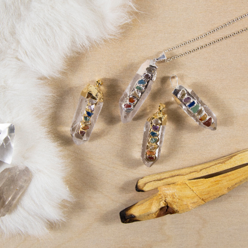 Crystal Quartz Point Pendant with Chakra Gemstone Accents and Electroplated 24k Gold or Silver Cap and Bail (S96B26)