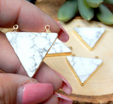 White Howlite Triangle Double Bail Pendant Charm edged in 24k Gold- Exclusive Design (S96B24-10)