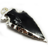 Black Obsidian Arrowhead Pendant with Electroplated Silver (S55B2-03)