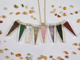 Gemstone Triangle Double Bail Pendant with Electroplated 24k Gold or Silver Edge (s118b12)