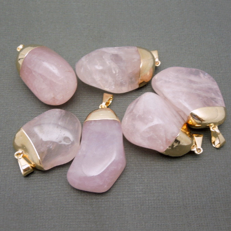 Tumbled Rose Quartz Agate Pendant  with Electroplated 24k Gold Cap and Bail (S24B17-01)
