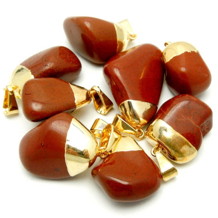 Natural Jasper Pendant- Tumbled Red Jasper Pendant with Electroplated 24k Gold Cap and Bail (S24B15-06)