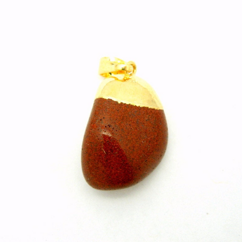 Natural Tumbled Red Jasper Pendant with Electroplated 24k Gold Cap and Bail (S24B15-06)