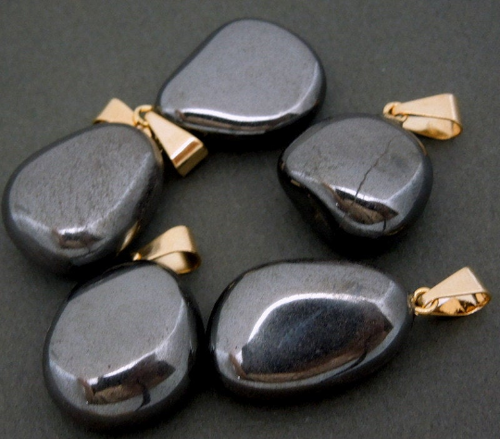 Natural Hematite Pendant- Tumbled Hematite Pendant with Gold Bail (S23B14-10)
