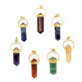 Seven Chakras Point Pendant Set with Gold Tone Bail (S54B9)