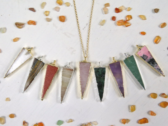 Gemstone Triangle Pendant with Electroplated 24k Gold or Silver Edge (s83b18)