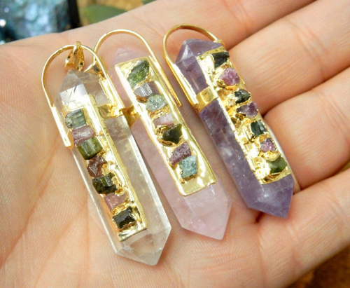 Quartz Point Pendant with Watermelon Tourmaline Accents and Electroplated 24k Gold or Silver - Crystal, Amethyst, Rose Quartz (S96B24)
