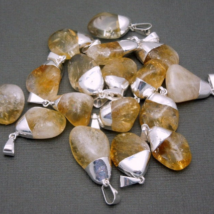 Petite Natural Citrine Quartz Pendant- Tumbled Citrine Pendant with Silver Electroplated Cap and Bail (S24B16-10)
