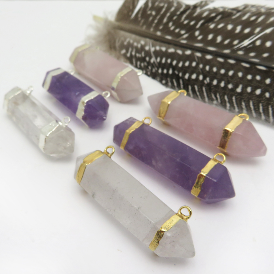 Gemstone Double Terminated Point Pendant with Silver or Gold Plated Bails. Double Bail - YOU CHOOSE STONE (S52B24b)