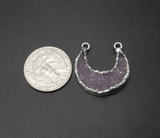 Druzy Crescent Double Bail Pendant with Electroplated Silver Edge (S113B10-02)