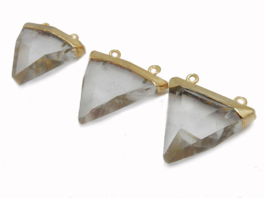 Crystal Quartz Triangle Charm Pendant with 24k Gold Electroplated Cap (S52B12b-12)