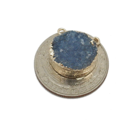 Round Dyed Blue Druzy Coin Double Bail Pendant with Electroplated 24k Gold Edge (S113B10-04)