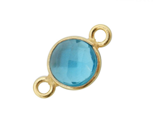 Blue Topaz Station Round Pendant Connector - 6mm Gold Over Sterling Silver Bezel Charm Double Bail Pendant (S52B18-05)
