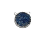 Round Dyed Blue Druzy Coin Double Bail Pendant with Electroplated Silver Edge (S113B10-05)
