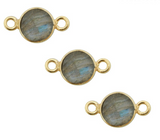 Labradorite Station Round Pendant Connector - 6mm Gold Over Sterling Silver Bezel Charm Double Bail Pendant (S52B18-07)