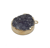 Round Dyed Purple Druzy Coin Double Bail Pendant with Electroplated 24k Gold Edge (S113B10-06)