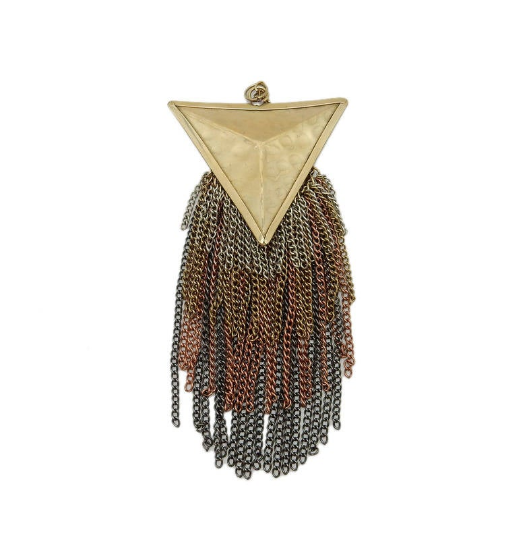 Triangle Tassle with Multi- Colored Brass Chain Dangles and Gold Toned Brass Triangle Pendant (S123B6)