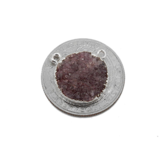 Round Dyed Pink Druzy Coin Double Bail Pendant with Electroplated Silver Edge (S113B10-08)