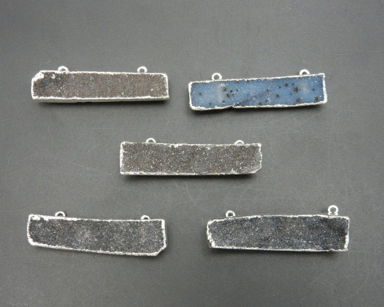 Dark Colored Druzy Bar Double Bail Pendant with Electroplated Silver Edge (S113B10-09)