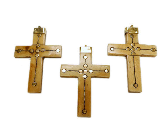 Large Bone Cross Pendant with Brass Dotted Accents and Brass Cap and Bail  (S53B11)