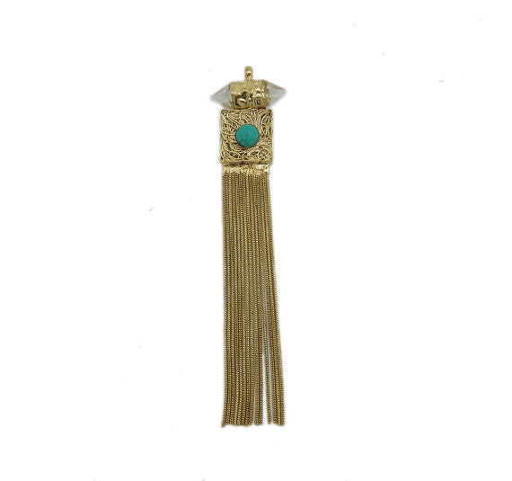 Brass Crystal Point Chain Tassel Pendant with Turquoise Gemstone Accent