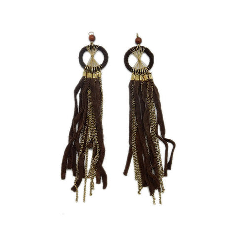 Brown and Tan Dotted Leather Strand Tassel Pendant with Pattern - (S115B10-03)