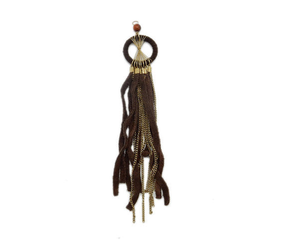 Brown Leather Dream Catcher Tassel Pendant with Brass Chain (S53B7)