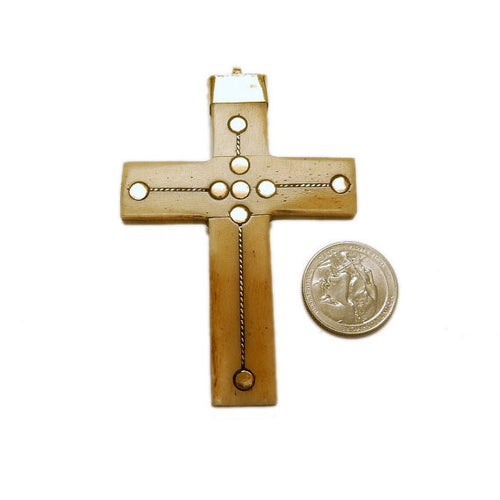 Large Bone Cross Pendant with Brass Dotted Accents and Brass Cap and Bail