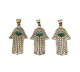 Hamsa Hand - Gold Plated Hamsa Hand Pendant with Turquoise Howlite Gemstone Accent