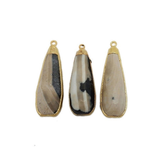 Black & White Lace Agate Teardrop Pendant with Electroplated 24k Gold Cap and Edge