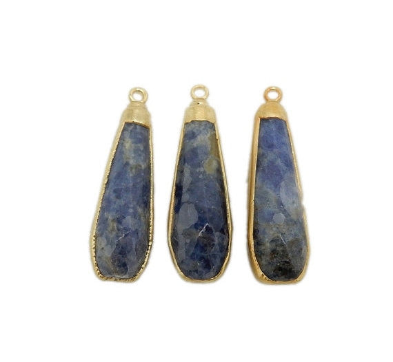 Sodalite Teardrop Pendant with Electroplated 24k Gold Cap and Edge