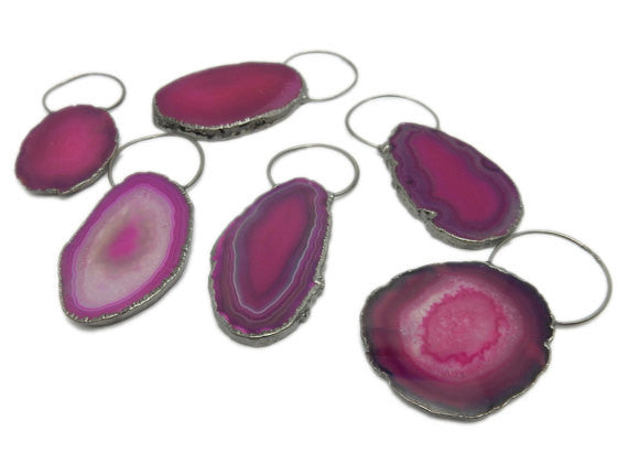Pink Colored Agate Slice Pendant with Fancy Bail and Electroplated Edge