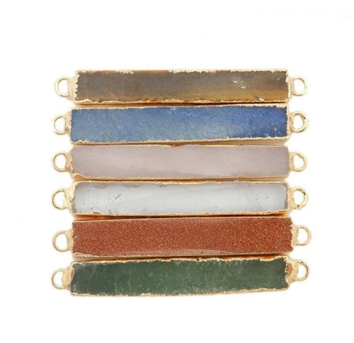 Gemstone Bar Double Bail Sideways Pendant with Electroplated 24k Gold Edge (S119B3)