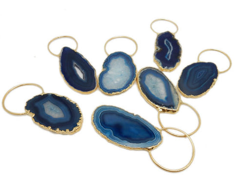 Blue Colored Agate Slice Pendant with Fancy Bail and Electroplated Edge