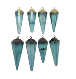 Aqua Aura Crystal Fancy Point Pendant with Electroplated 24k Gold or Oxidized Silver Cap and Bail (S118B7)