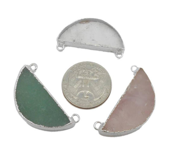 Gemstone Half Moon Double Bail Pendant with Electroplated Silver - Aventurine, Crystal Quartz, Rose Quartz - (S119B2)