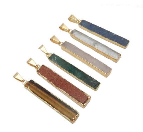 Gemstone Bar Pendant with Electroplated 24k Gold Edge (S119B4)