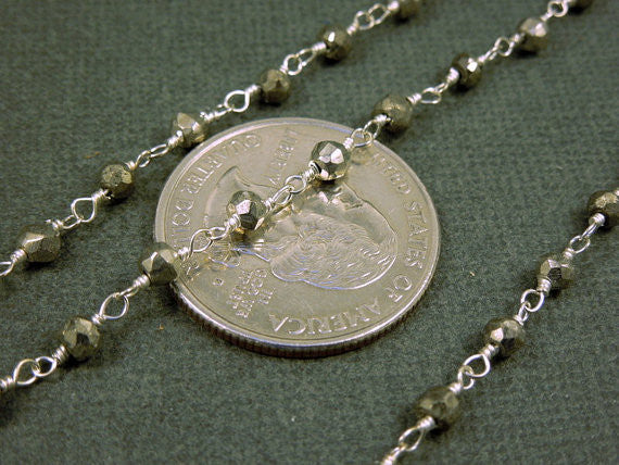 Pyrite Rosary Beaded Gemstone Sterling Silver or Plated Chain (CHN-94)