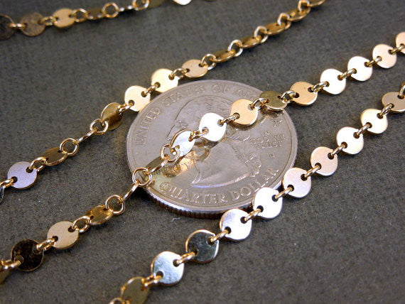 Gold Fill Disk and Link Chain -- PER FOOT (8860)