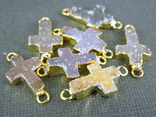 Druzy Cross Double Bail Connector Pendant witih Electroplated 24k Gold Edge DZ-17