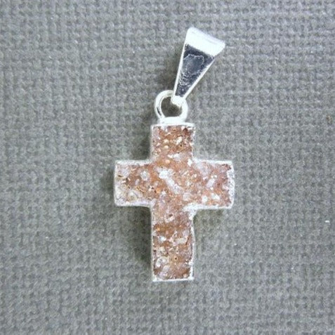 Druzy Cross Pendant witih Electroplated Silver Plated Edge DZ-21