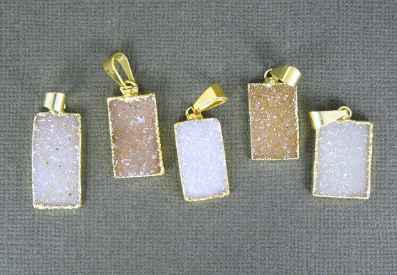 Druzy Rectangle Pendant with 24k Gold Layered Edge