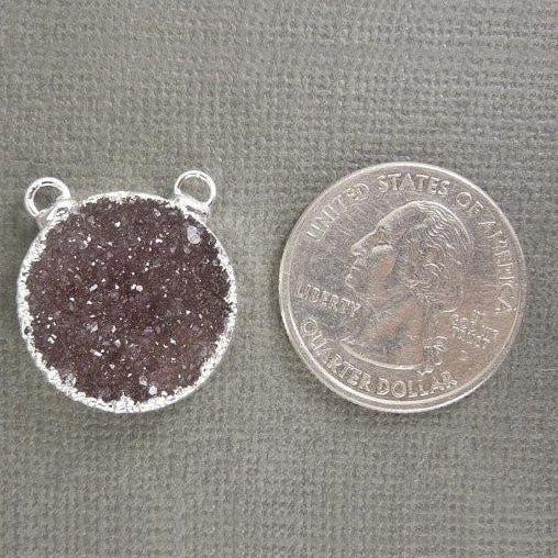 Druzy Round Double Bail Connector Pendant with Silver Electroplated Edge(S1B1-02)