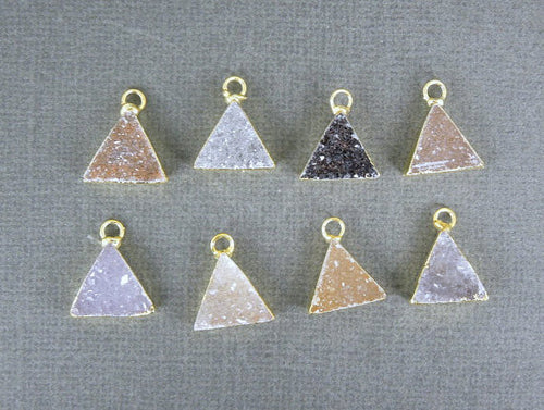 Druzy Druzzy Drusy Petite Triangle Charm Pendant with 24k Gold Electroplated Edge