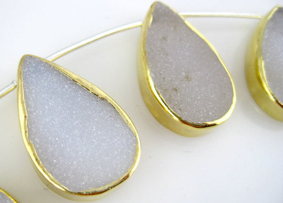 White Druzy Drusy Quartz Teardrop Bead set in a Gold Vermeil Bezel-- 1 BEAD
